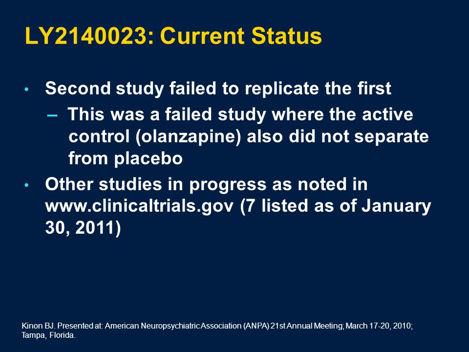 LY2140023: Current Status Second study failed to replicate the first – This was a failed study where the active control (olanzapine) also did not separate from placebo Other studies in progress as noted in www.clinicaltrials.gov (7 listed as of January 30, 2011) Kinon BJ.