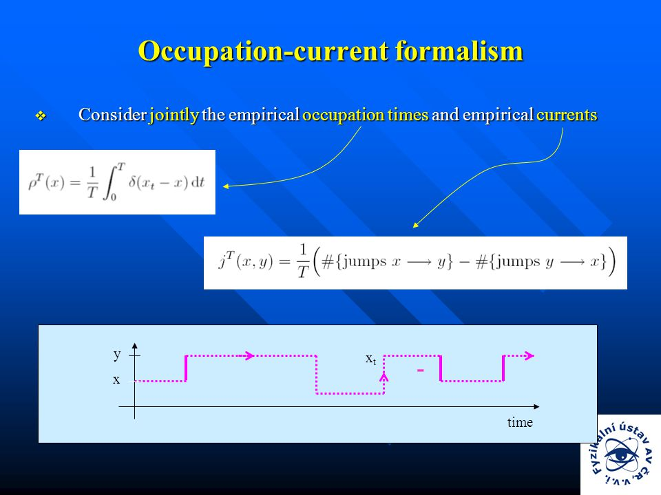 Occupation-current formalism  Consider jointly the empirical occupation times and empirical currents - x y xtxt time