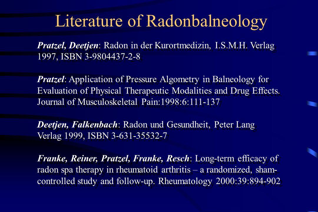 Literature of Radonbalneology Pratzel, Deetjen: Radon in der Kurortmedizin, I.S.M.H.