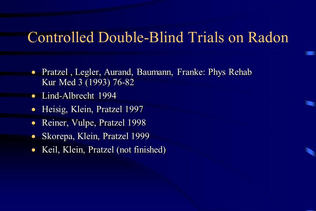 Controlled Double-Blind Trials on Radon  Pratzel, Legler, Aurand, Baumann, Franke: Phys Rehab Kur Med 3 (1993) 76-82  Lind-Albrecht 1994  Heisig, Klein, Pratzel 1997  Reiner, Vulpe, Pratzel 1998  Skorepa, Klein, Pratzel 1999  Keil, Klein, Pratzel (not finished)  Pratzel, Legler, Aurand, Baumann, Franke: Phys Rehab Kur Med 3 (1993) 76-82  Lind-Albrecht 1994  Heisig, Klein, Pratzel 1997  Reiner, Vulpe, Pratzel 1998  Skorepa, Klein, Pratzel 1999  Keil, Klein, Pratzel (not finished)