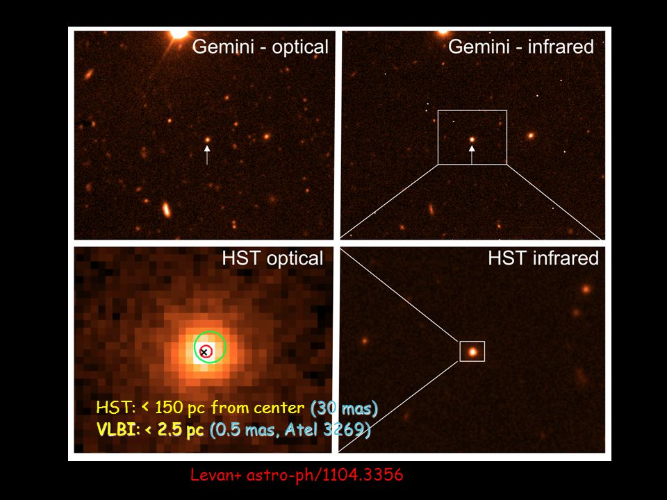 Levan+ astro-ph/1104.3356 (30 mas) HST: < 150 pc from center (30 mas) VLBI: < 2.5 pc (0.5 mas, Atel 3269)