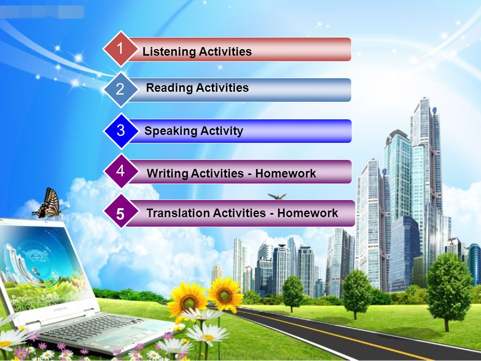 1 Reading Activities 2 Listening Activities 3 Speaking Activity 4 Writing Activities - Homework 5 Translation Activities - Homework