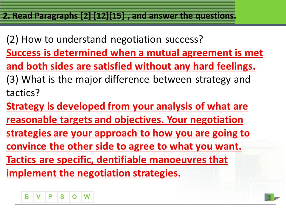B VWOPS 2. Read Paragraphs [2] [12][15], and answer the questions. (2) How to understand negotiation success? Success is determined when a mutual agre