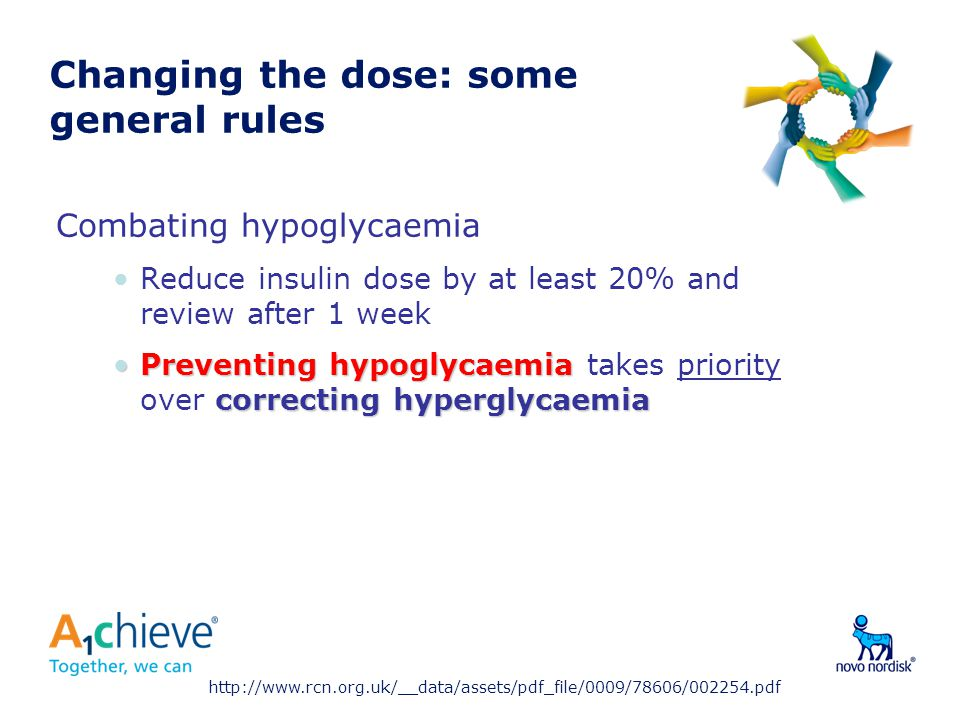 Changing the dose: some general rules Combating hypoglycaemia Reduce insulin dose by at least 20% and review after 1 week Preventing hypoglycaemia correcting hyperglycaemiaPreventing hypoglycaemia takes priority over correcting hyperglycaemia http://www.rcn.org.uk/__data/assets/pdf_file/0009/78606/002254.pdf