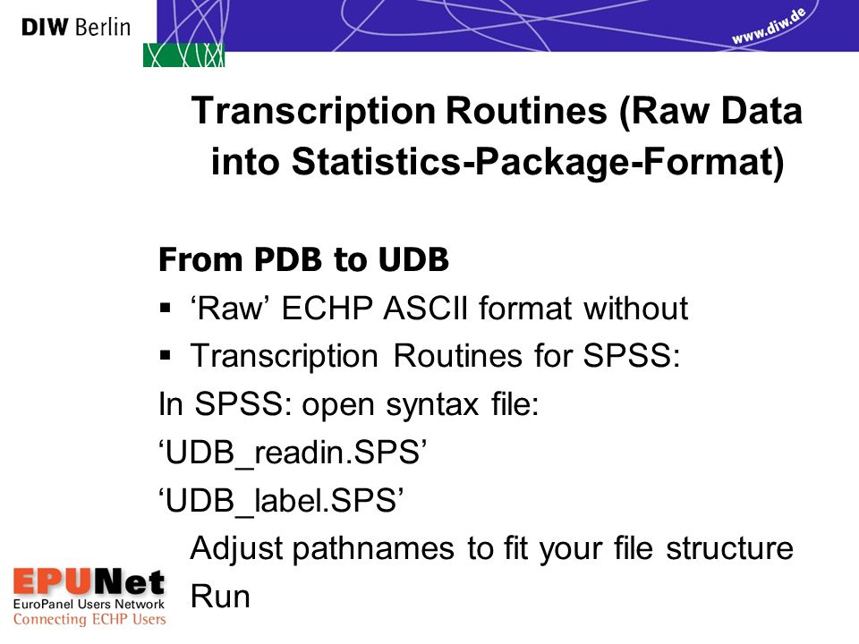 Transcription Routines (Raw Data into Statistics-Package-Format) From PDB to UDB  'Raw' ECHP ASCII format without  Transcription Routines for SPSS: