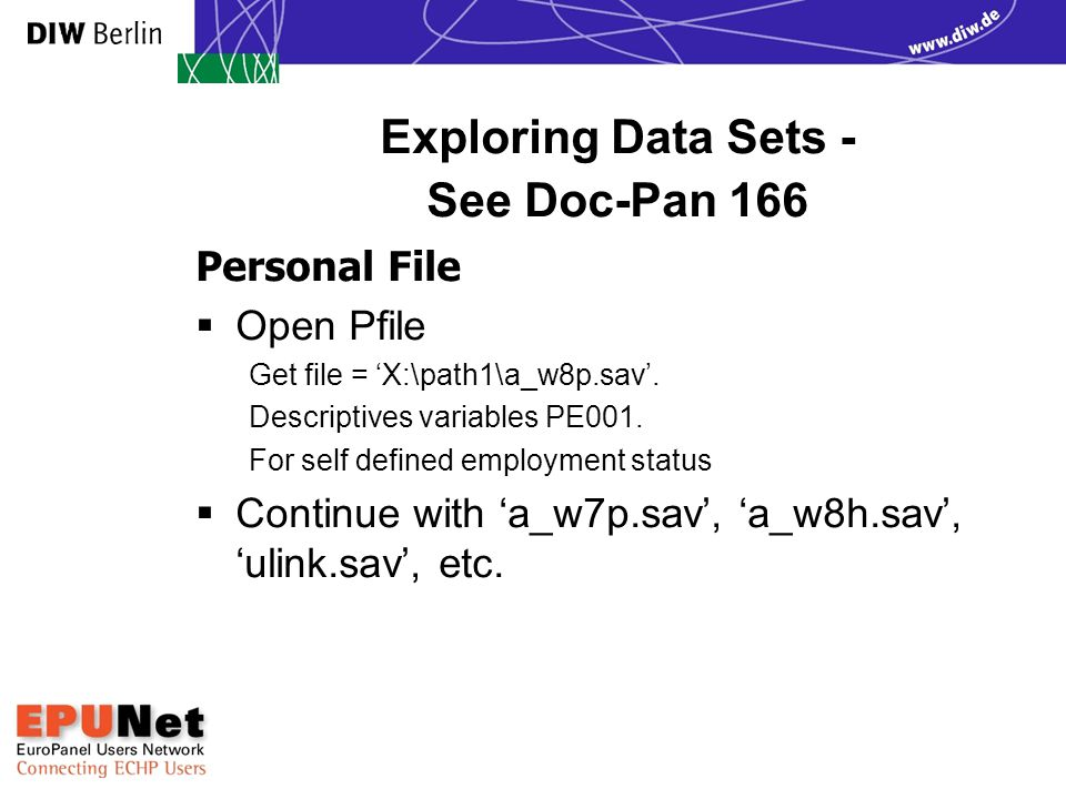 Exploring Data Sets - See Doc-Pan 166 Personal File  Open Pfile Get file = 'X:\path1\a_w8p.sav'. Descriptives variables PE001. For self defined emplo