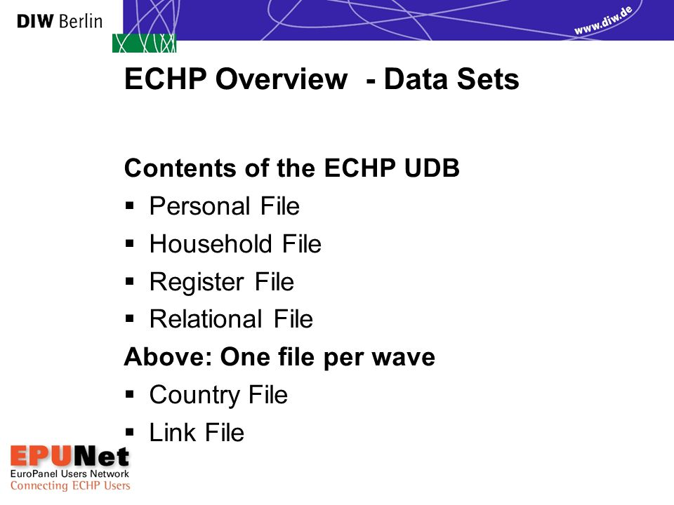Exploring Data Sets Country File - contents  One record for each country/panel  One block of variables for each wave  RATE: Exchange rates in Euro  PPP: Purchasing power parities  POPTOT: Total population in private  households  POP16P: Number of persons aged 16+ living  in private households  POPHHD: Number of private households EPUNet 2005 Training Course