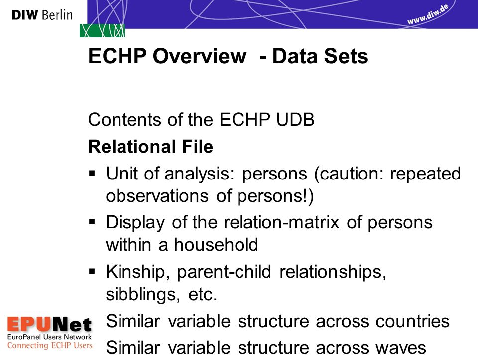 ECHP Overview - Data Sets Contents of the ECHP UDB Country File  Unit of analysis: country  Display of general country specific information (PPP, Exchange rates, Population)  Single file  One set of variables per wave
