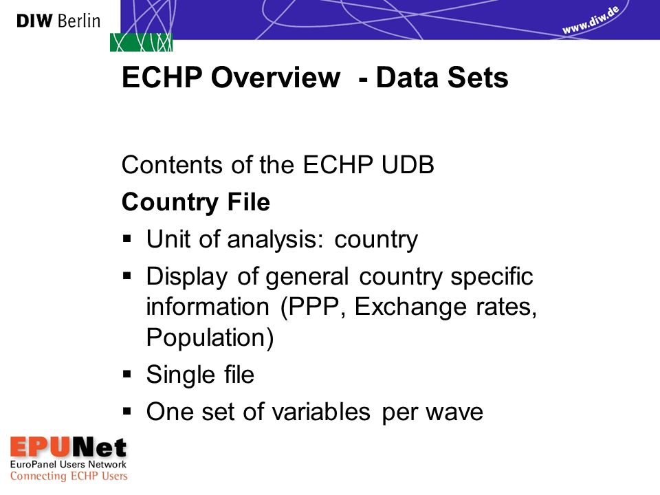 ECHP Overview - Data Sets Contents of the ECHP UDB Country File  Unit of analysis: country  Display of general country specific information (PPP, Ex