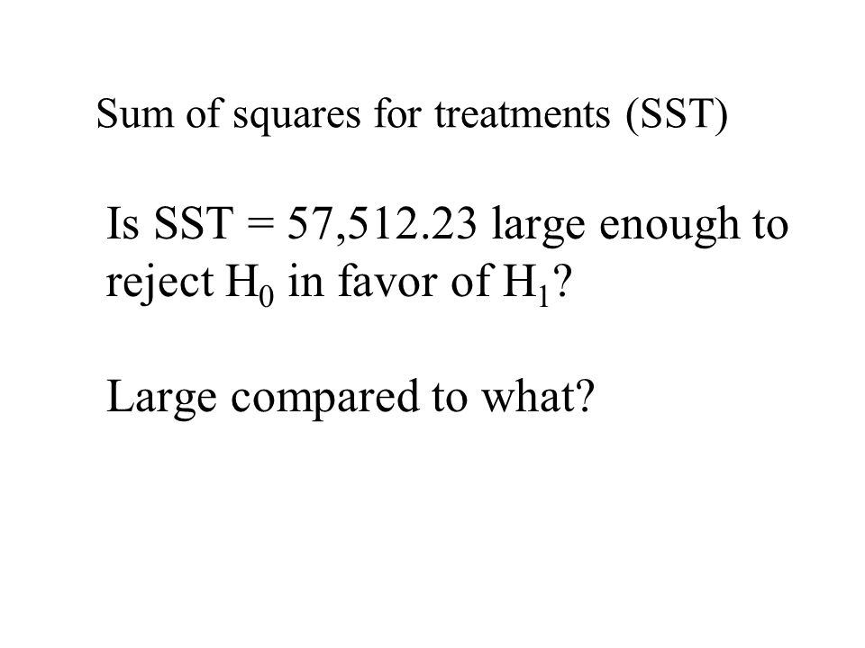 Is SST = 57,512.23 large enough to reject H 0 in favor of H 1 .