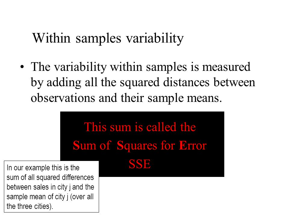 The variability within samples is measured by adding all the squared distances between observations and their sample means.