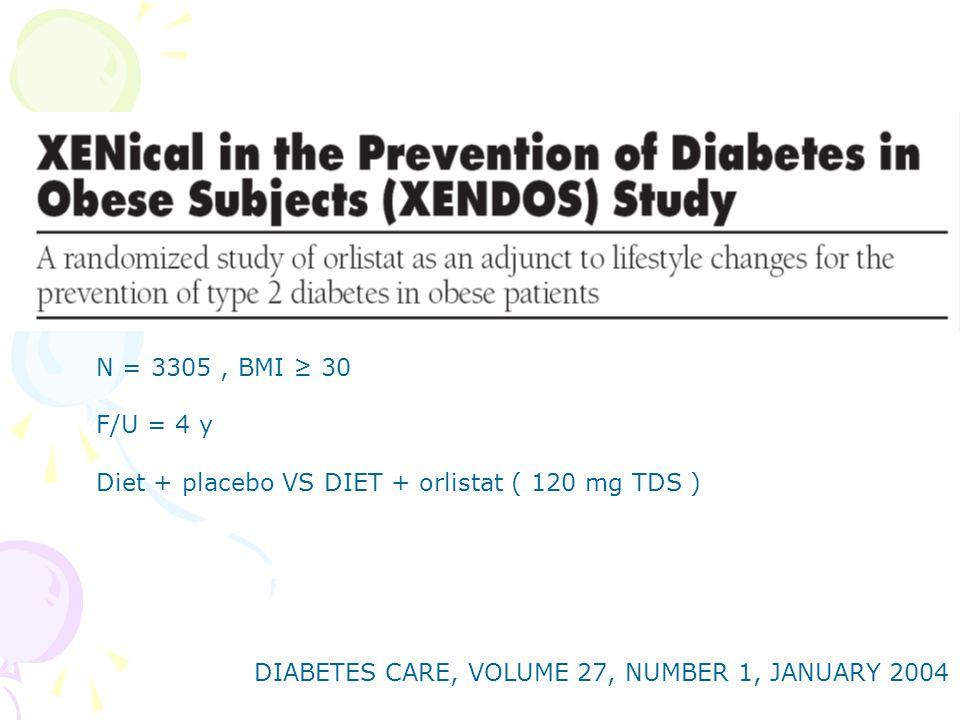 DIABETES CARE, VOLUME 27, NUMBER 1, JANUARY 2004 N = 3305, BMI ≥ 30 F/U = 4 y Diet + placebo VS DIET + orlistat ( 120 mg TDS )