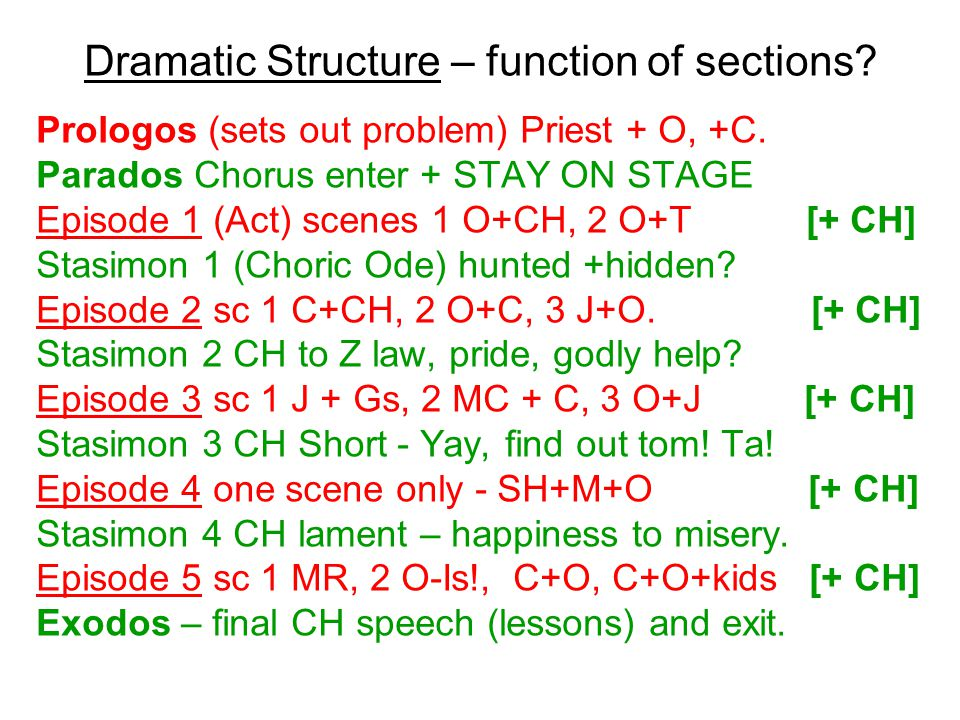 Dramatic Structure – function of sections. Prologos (sets out problem) Priest + O, +C.