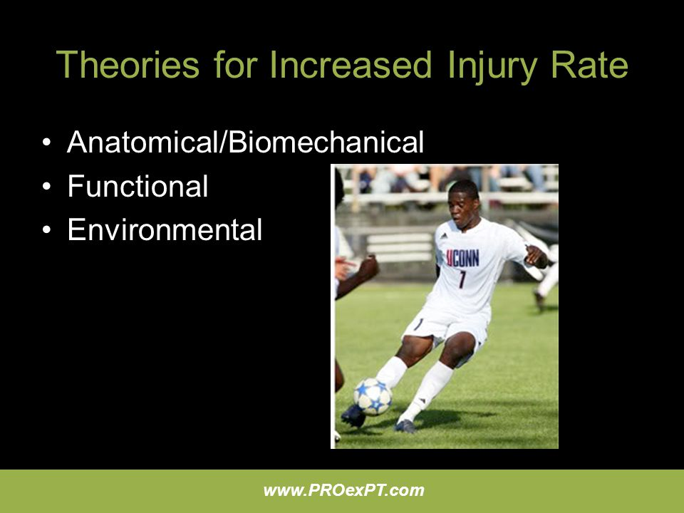 www.PROexPT.com Theories for Increased Injury Rate Anatomical/Biomechanical Functional Environmental
