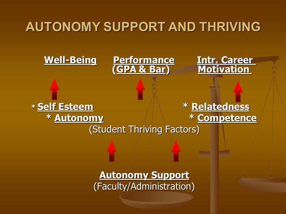 AUTONOMY SUPPORT AND THRIVING Well-Being Performance Intr.