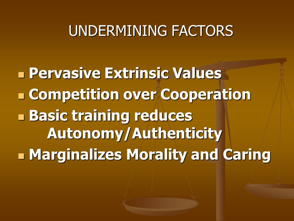 UNDERMINING FACTORS UNDERMINING FACTORS Pervasive Extrinsic Values Pervasive Extrinsic Values Competition over Cooperation Competition over Cooperation Basic training reduces Autonomy/Authenticity Basic training reduces Autonomy/Authenticity Marginalizes Morality and Caring Marginalizes Morality and Caring