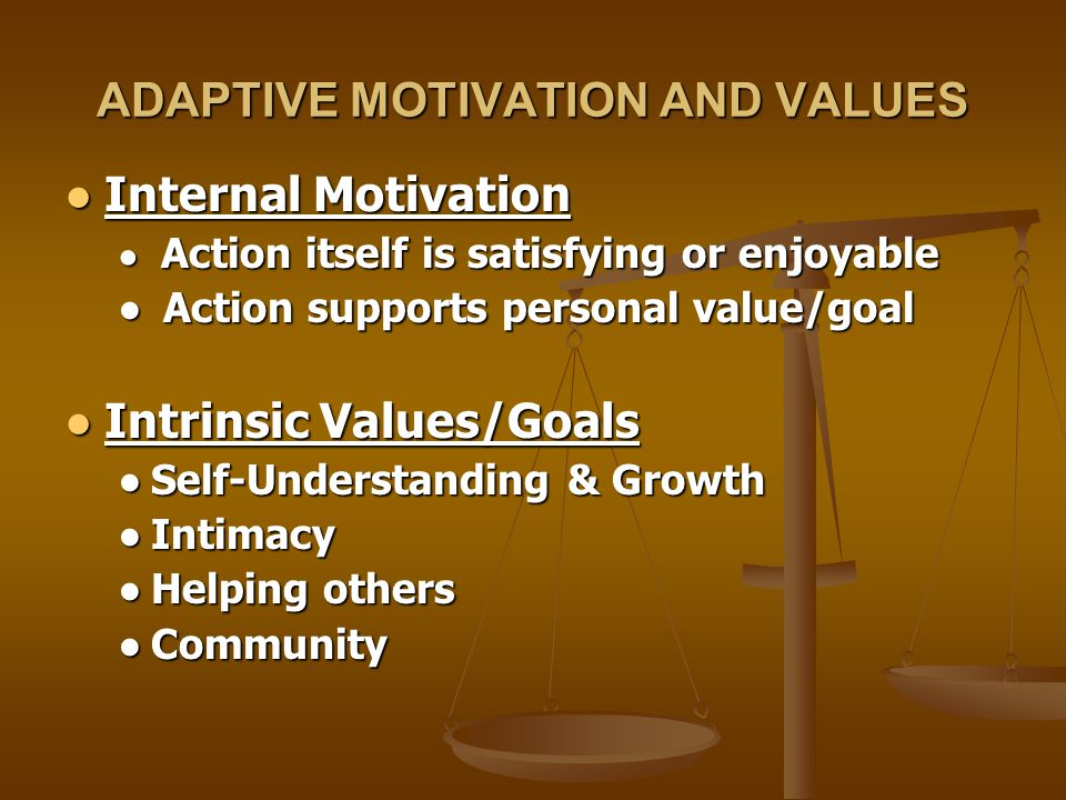 Well-Being, Integrity, High Performance Distress, Addictions, Low Performance/Ethics Needs Satisfied Autonomy, Relatedness, Compet'ce, Self-Esteem Needs Not Satisfied Adaptive Behaviors Intr.