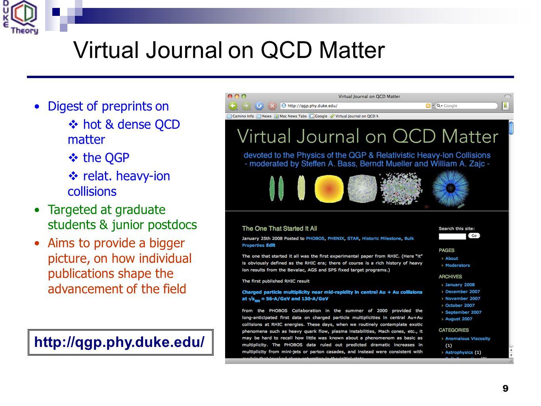 9 Virtual Journal on QCD Matter Digest of preprints on  hot & dense QCD matter  the QGP  relat.