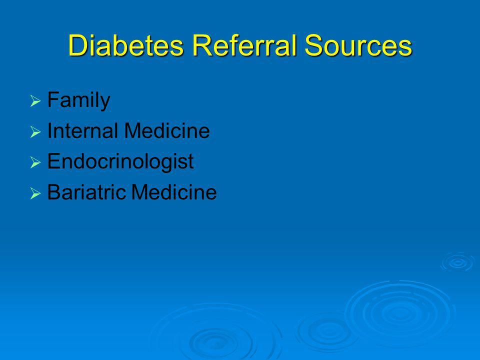 Diabetes Referral Sources   Family   Internal Medicine   Endocrinologist   Bariatric Medicine