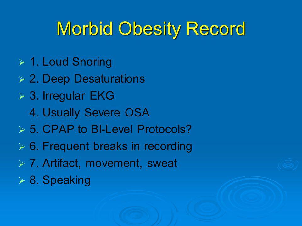 Morbid Obesity Record   1.Loud Snoring   2. Deep Desaturations   3.