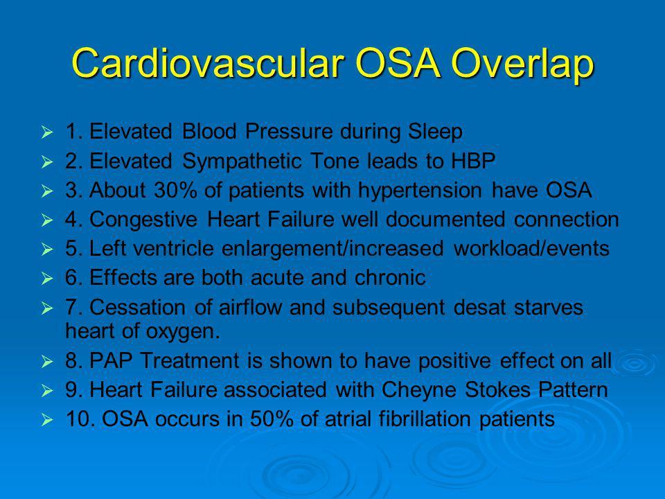 Cardiovascular OSA Overlap   1.Elevated Blood Pressure during Sleep   2.