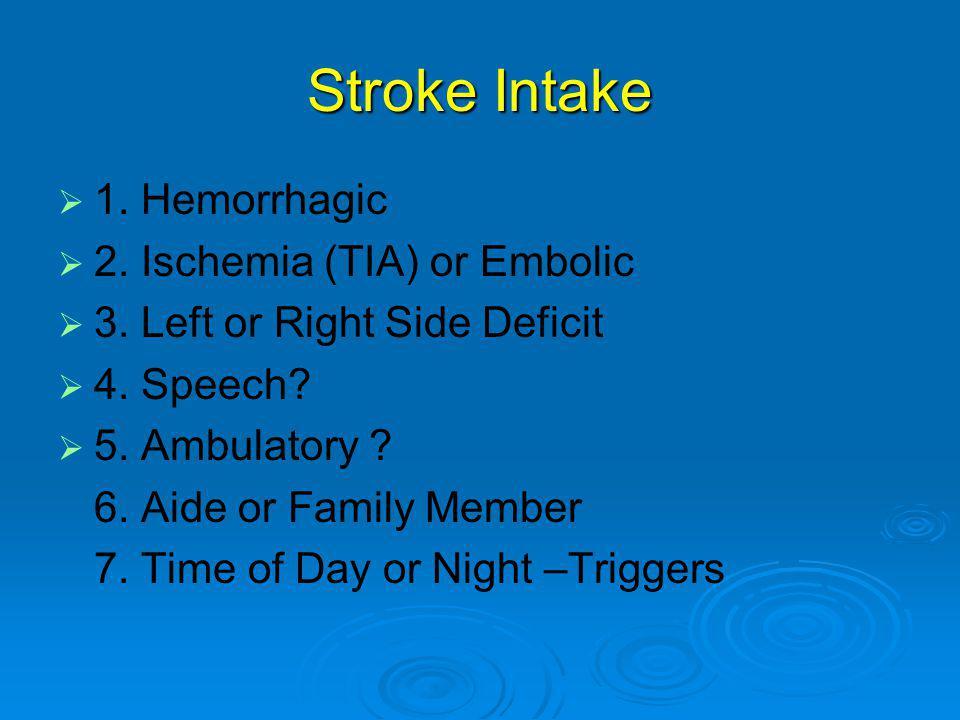 Stroke Intake   1.Hemorrhagic   2. Ischemia (TIA) or Embolic   3.