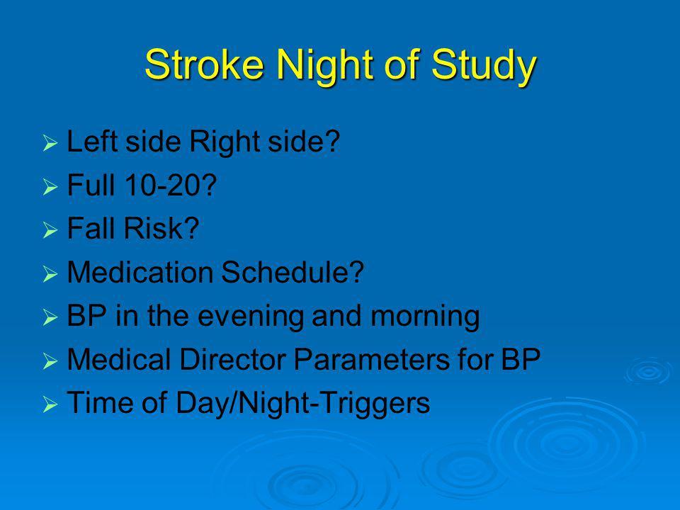 Stroke Night of Study   Left side Right side.  Full 10-20.