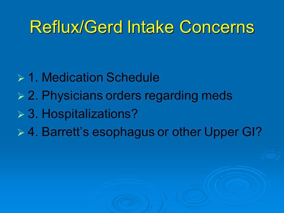 Reflux/Gerd Intake Concerns   1.Medication Schedule   2.