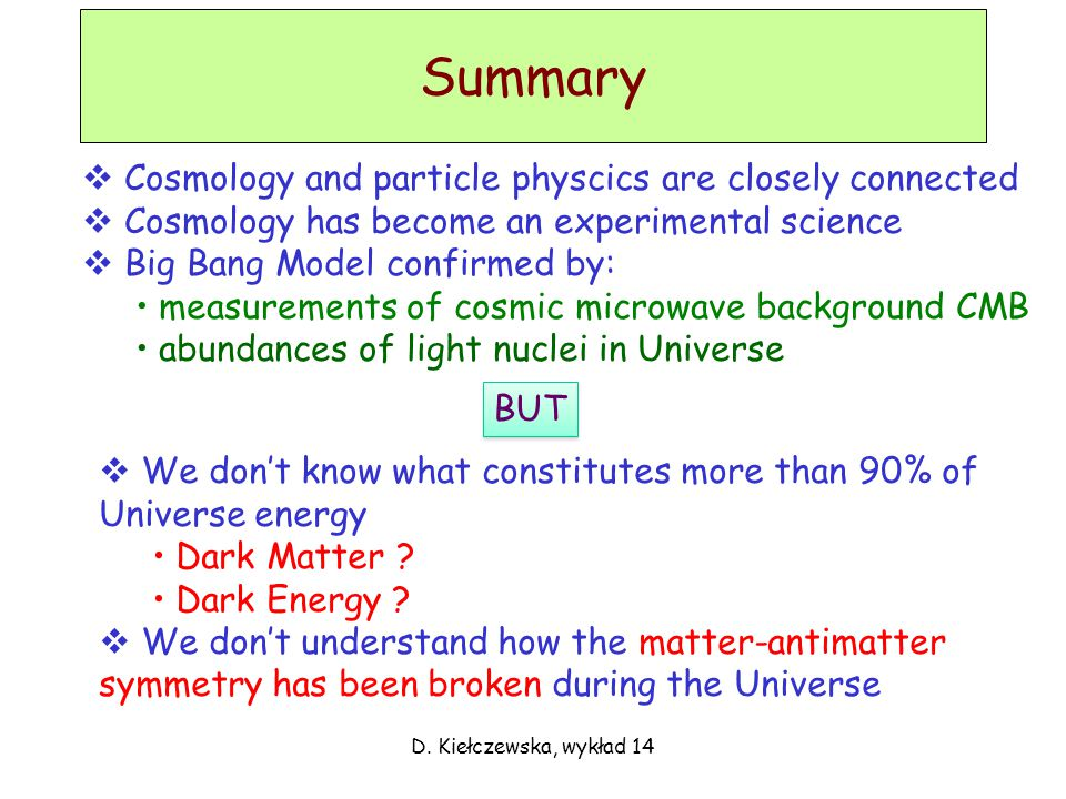Summary D. Kiełczewska, wykład 14  Cosmology and particle physcics are closely connected  Cosmology has become an experimental science  Big Bang Mo