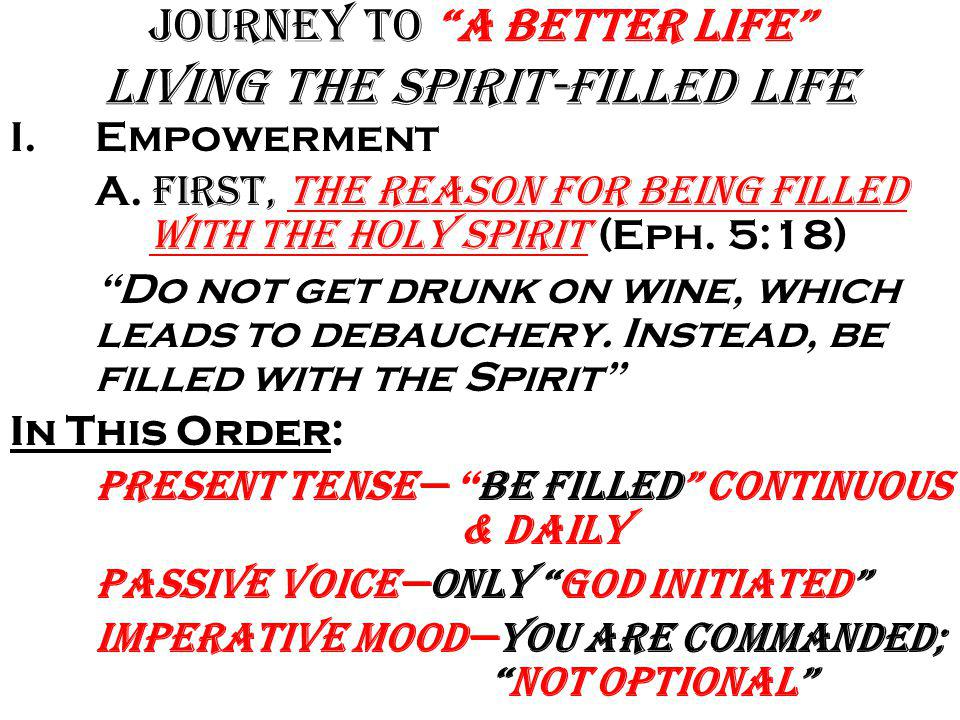 """Journey to """"A Better Life"""" Living the Spirit-filled Life Why have all this Power at your fingertips And Have No Idea Of How It Works If you are to hav"""