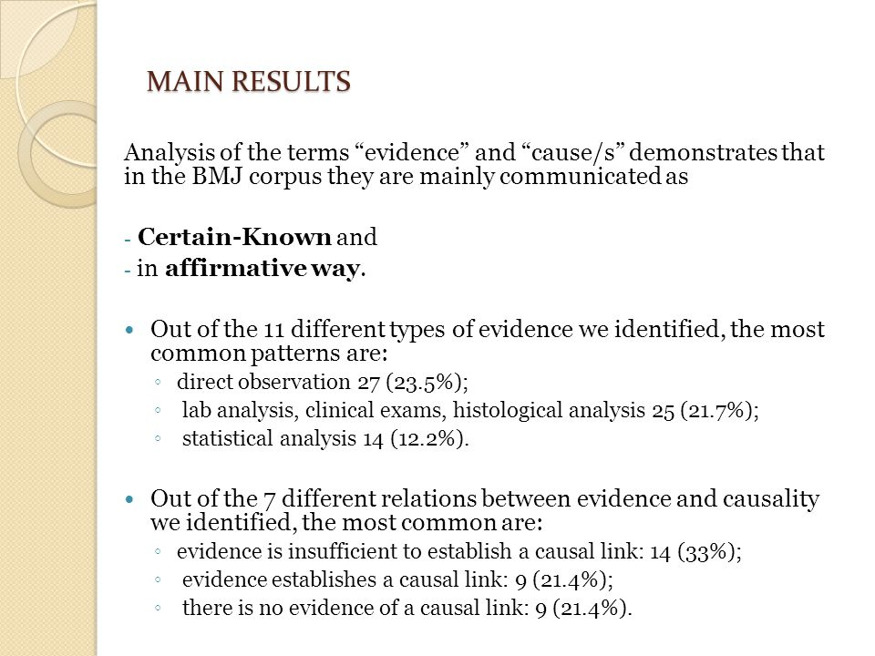 MAIN RESULTS Analysis of the terms evidence and cause/s demonstrates that in the BMJ corpus they are mainly communicated as - Certain-Known and - in affirmative way.