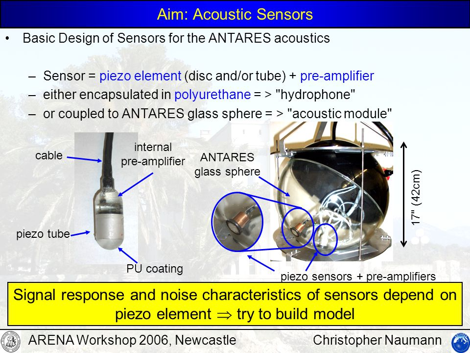 Christopher NaumannARENA Workshop 2006, Newcastle Noise Important in addition to sensitivity: intrinsic noise of sensors = noise of piezo element + amplifier –intrinsic noise of piezo: thermal movement equivalent to thermal (Nyquist) noise of real part of piezo impedance –amplifier noise from OP amps (active) and resistors (passive) close to resonances, piezo dominates, below amplifier noise spectral density (PSD) example: acoustic module sensitivity ca.