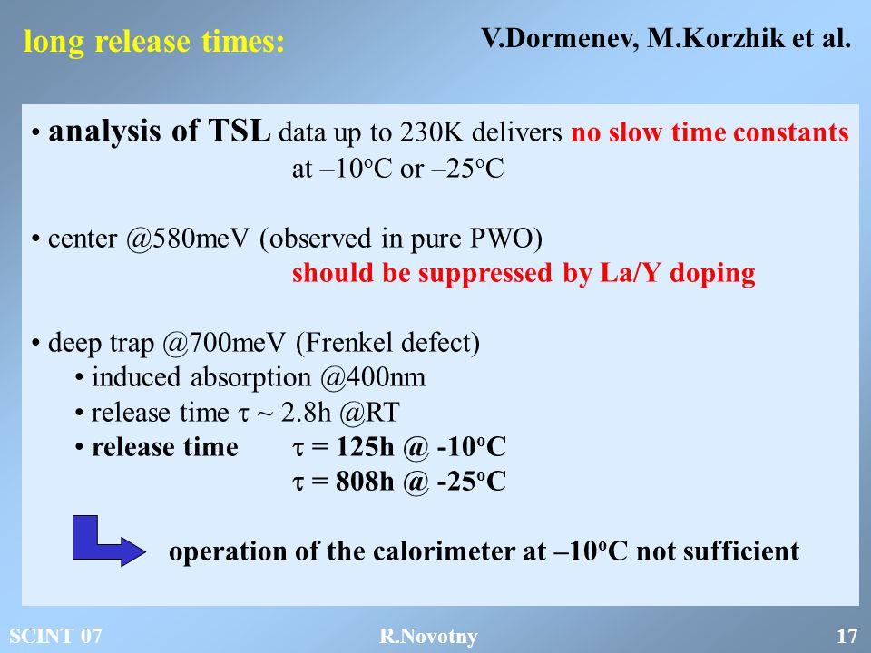 long release times: V.Dormenev, M.Korzhik et al.