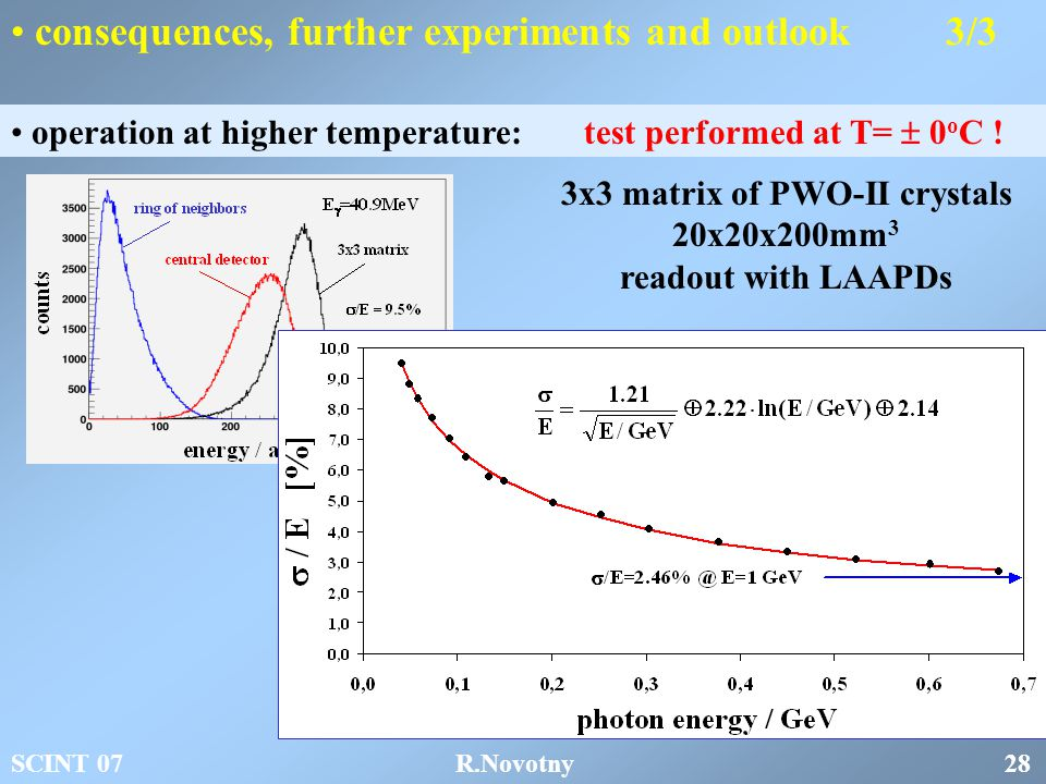 consequences, further experiments and outlook 3/3 operation at higher temperature: test performed at T=  0 o C .