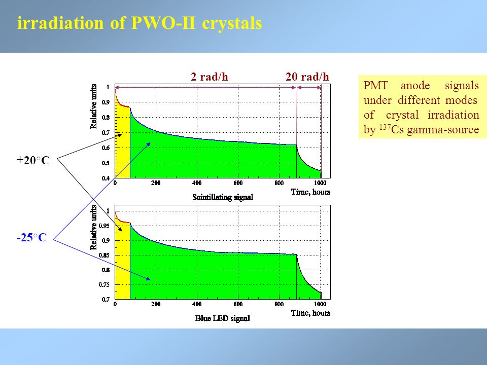 +20 ○ C -25 ○ C 2 rad/h20 rad/h PMT anode signals under different modes of crystal irradiation by 137 Cs gamma-source irradiation of PWO-II crystals