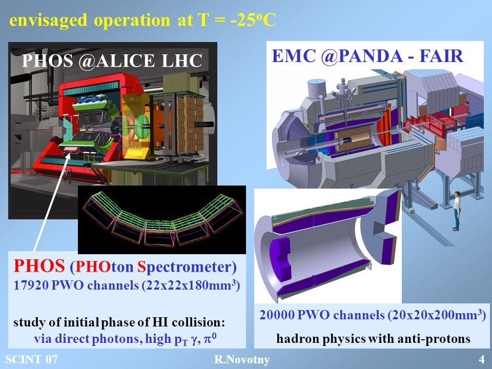 envisaged operation at T = -25 o C PHOS (PHOton Spectrometer) 17920 PWO channels (22x22x180mm 3 ) study of initial phase of HI collision: via direct photons, high p T ,   PHOS @ALICE LHC EMC @PANDA - FAIR 20000 PWO channels (20x20x200mm 3 ) hadron physics with anti-protons SCINT 07 R.Novotny 4