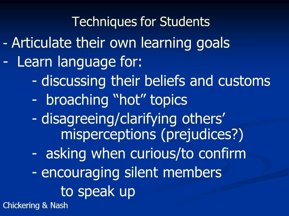 Techniques for Students - Articulate their own learning goals - Learn language for: - discussing their beliefs and customs - broaching hot topics - disagreeing/clarifying others' misperceptions (prejudices ) - asking when curious/to confirm - encouraging silent members to speak up Chickering & Nash