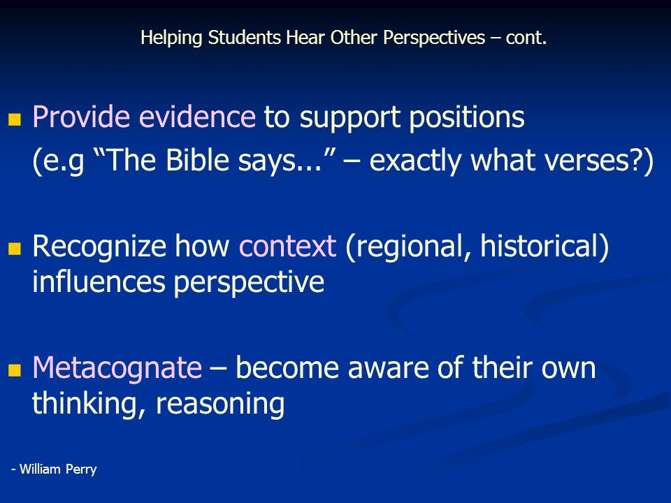 Helping Students Hear Other Perspectives – cont.