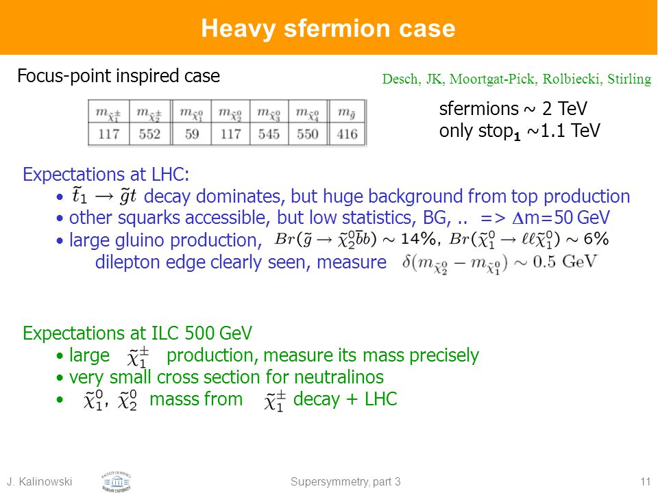 J. KalinowskiSupersymmetry, part 311 Expectations at LHC: decay dominates, but huge background from top production other squarks accessible, but low s