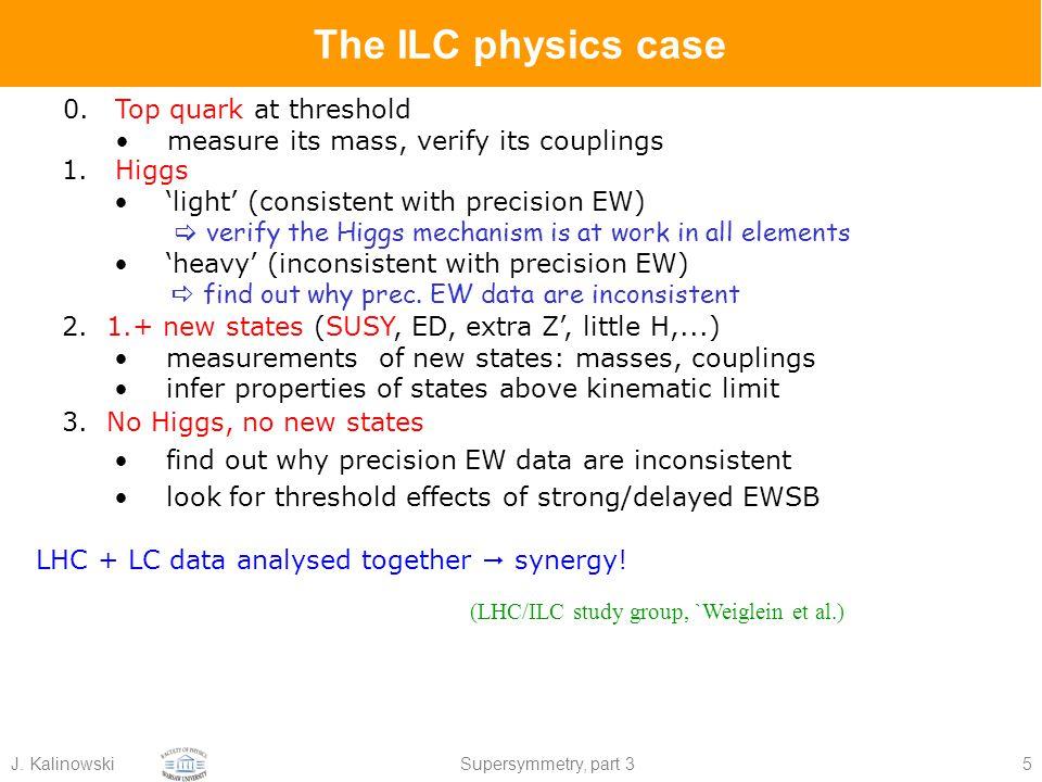 J. KalinowskiSupersymmetry, part 35 0.Top quark at threshold measure its mass, verify its couplings The ILC physics case (LHC/ILC study group, `Weigle