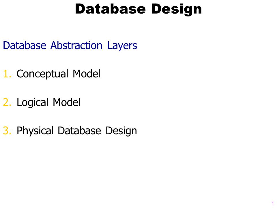 1 Database Design Database Abstraction Layers 1.Conceptual Model 2.Logical Model 3.Physical Database Design