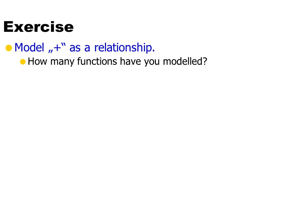 "Exercise  Model ""+ as a relationship.  How many functions have you modelled"