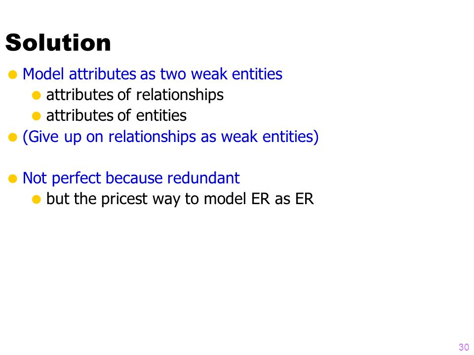Solution 30  Model attributes as two weak entities  attributes of relationships  attributes of entities  (Give up on relationships as weak entities)  Not perfect because redundant  but the pricest way to model ER as ER