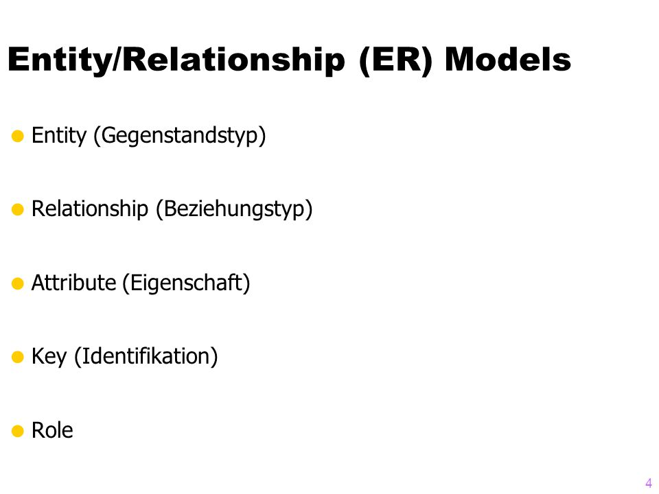 4 Entity/Relationship (ER) Models  Entity (Gegenstandstyp)  Relationship (Beziehungstyp)  Attribute (Eigenschaft)  Key (Identifikation)  Role