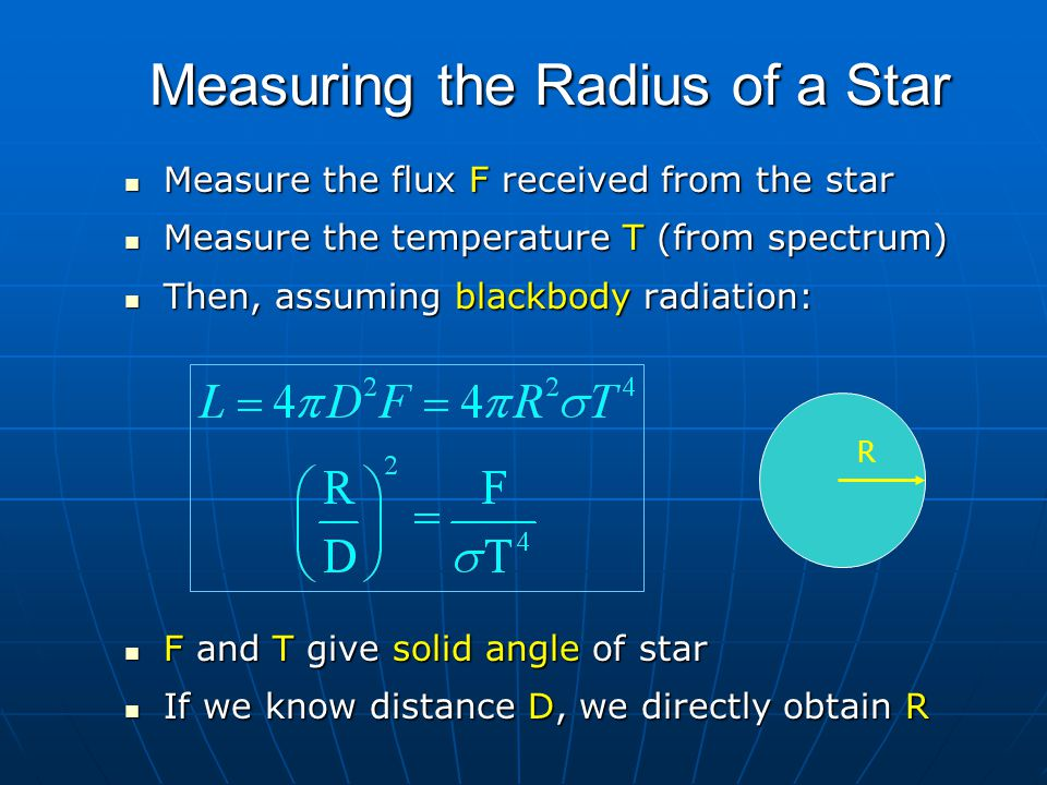 Measuring the Radius of a Star Measure the flux F received from the star Measure the flux F received from the star Measure the temperature T (from spe