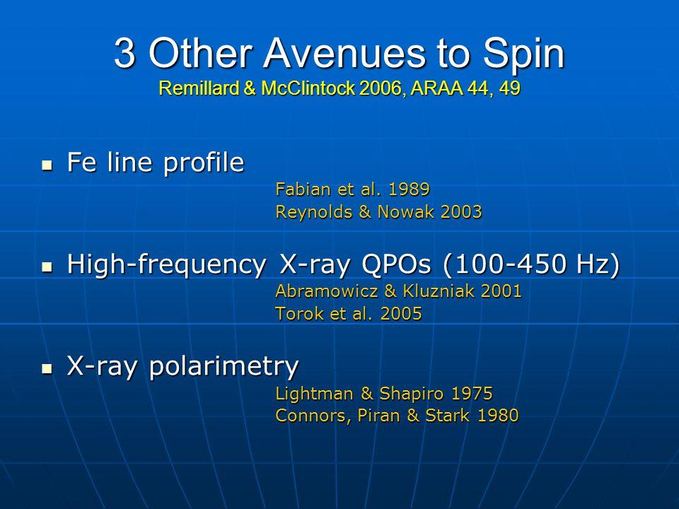 3 Other Avenues to Spin Remillard & McClintock 2006, ARAA 44, 49 Fe line profile Fe line profile Fabian et al.