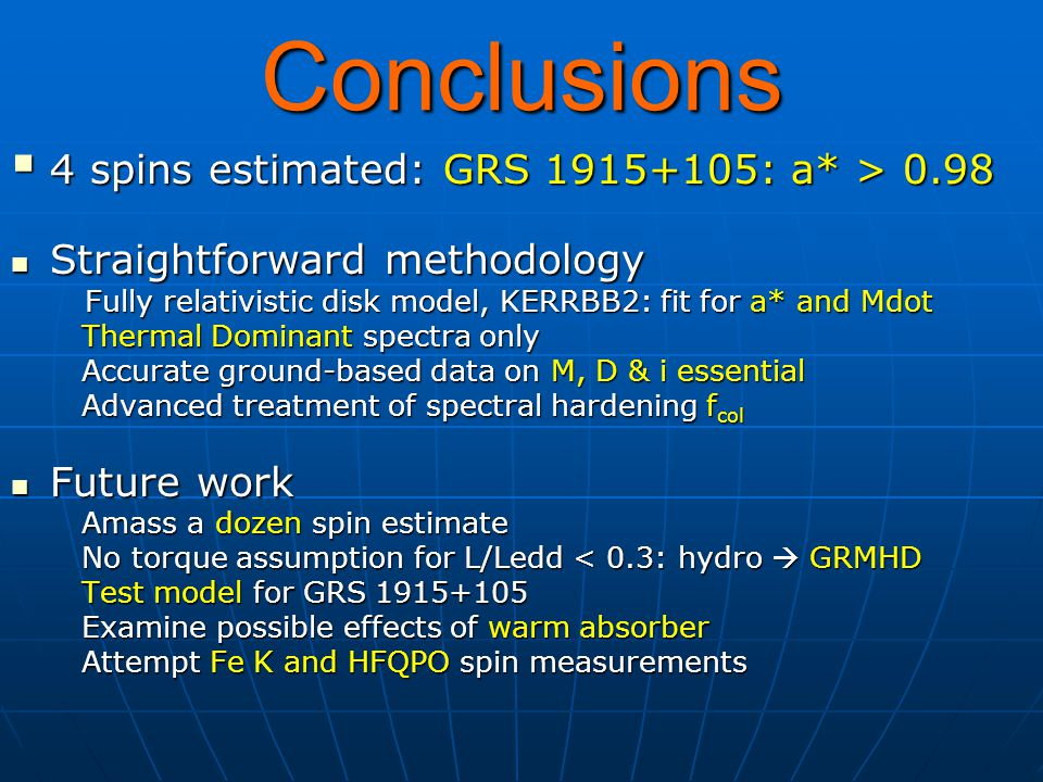 Conclusions  4 spins estimated: GRS 1915+105: a* > 0.98 Straightforward methodology Straightforward methodology Fully relativistic disk model, KERRBB