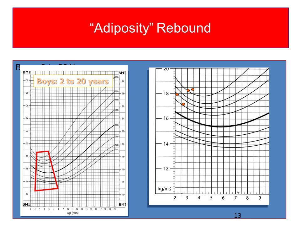 """Adiposity"" Rebound Boys: 2 to 20 Years Boys: 2 to 20 years BMI 13"