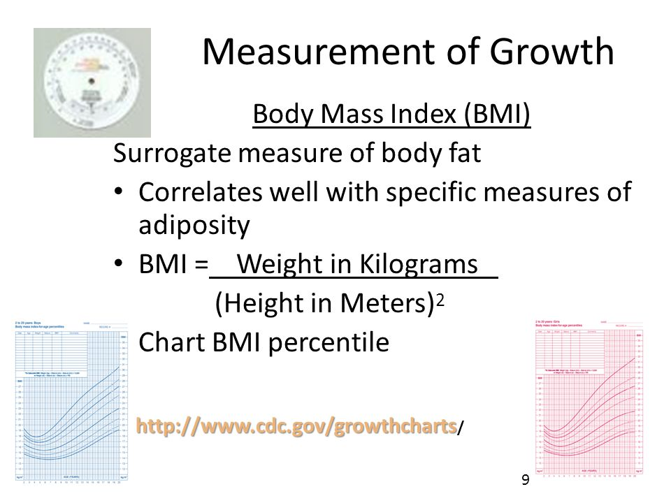 Measurement of Growth Body Mass Index (BMI) Surrogate measure of body fat Correlates well with specific measures of adiposity BMI = Weight in Kilograms (Height in Meters) 2 Chart BMI percentile http://www.cdc.gov/growthcharts http://www.cdc.gov/growthcharts / 9