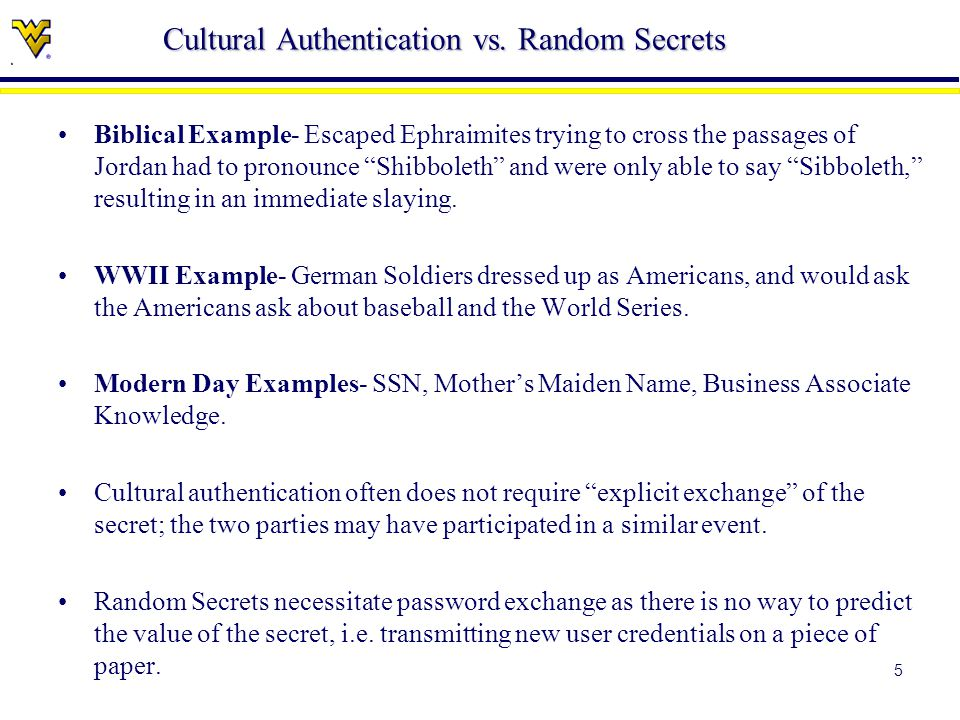 5 Cultural Authentication vs.